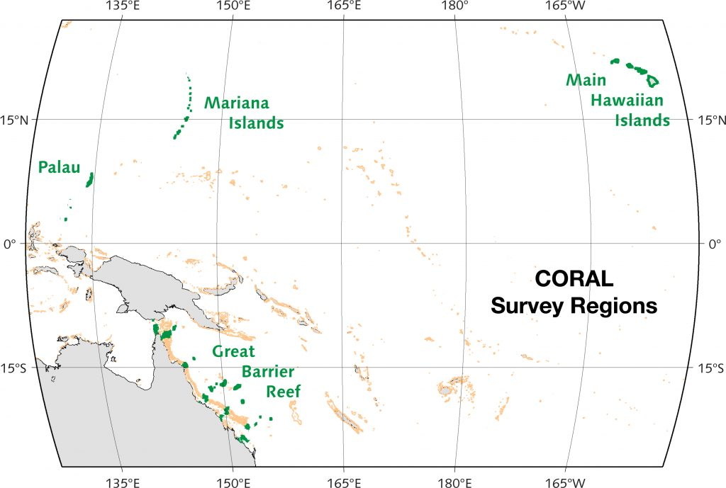 Map of CORAL survey regions