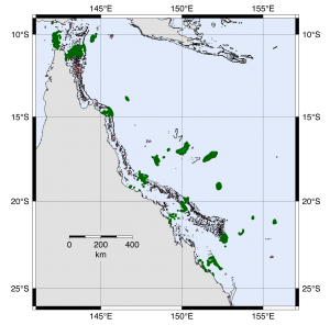 study locations on the Great Barrier Reef