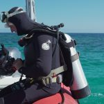 Diver prepares to enter the water