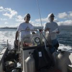 "Alex ""Dready"" Hunter and Steve Dollar, both part of the benthic team, head to a site in Kaneohe Bay"