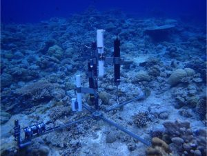 Reef metabolism equipment deployed on the seafloor of a coral reef