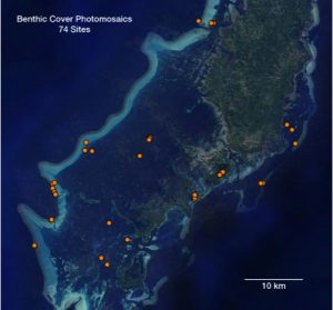 Map of benthic cover survey sites in Palau