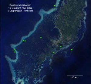 Map of benthic metabolism survey sites in Palau