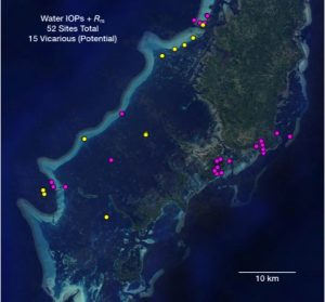Map of reef optics sites in Palau
