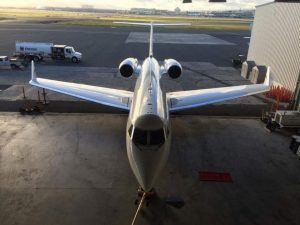 G4 airplane parked in the hangar