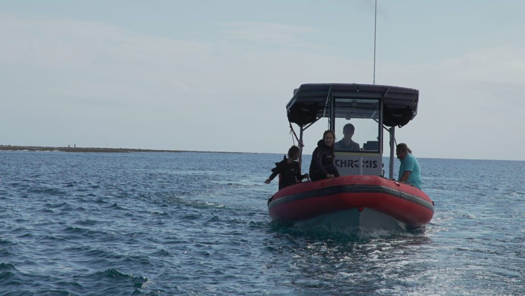 The CORAL mission survey team aboard the Chromis. Credit: Jim Round/NASA JPL