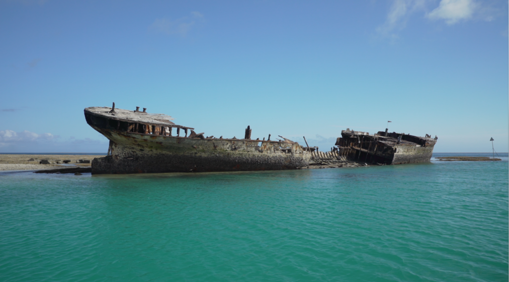 The shipwreck of the HMCS, Australia's first official naval vessel, lies at the entrance to Heron Island's harbor. The wreck was placed there many years ago to serve as a breakwater for small craft visiting the island. Credit: Jim Round/NASA JPL