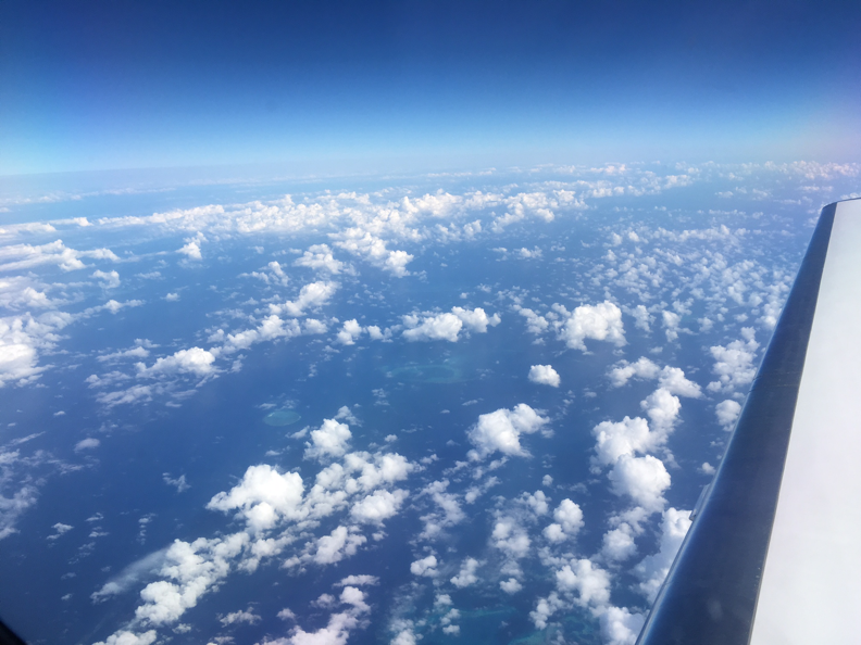A view from the Gulfstream IV plane as it flew over significant cloud cover above the Great Barrier Reef, delaying science flights for several days. Credit: NASA/Alan Buis